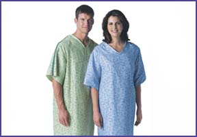 a man and woman in IV gowns
