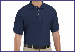 a blue knit polo shirt