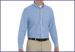 a blue oxford dress shirt